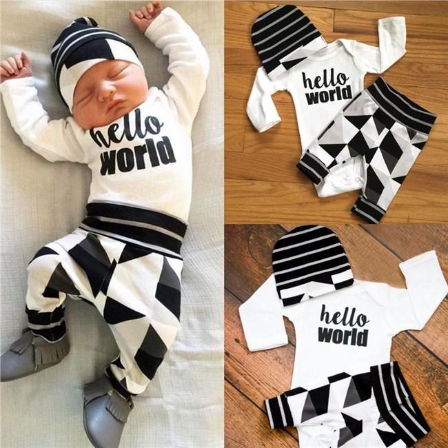 Babykleding Setjes.Babysetje Hello World 3 Tot 6 Maanden Babykleding Baby Setjes