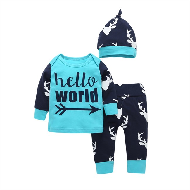 Babysetje | Hello World - 3 tot 6 Maanden - Blauw
