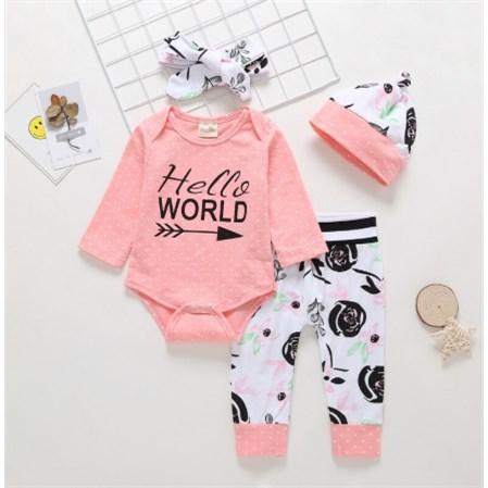 Babysetje | Hello World - 3 tot 6 Maanden -  Roze