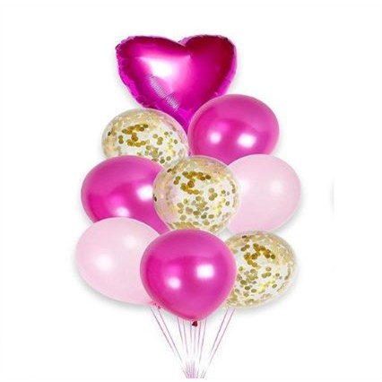 Geboorte Ballonnen Roze met Goud - 9 Stuks