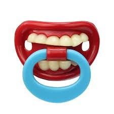 Fopspeen - Tanden met blauwe beugel