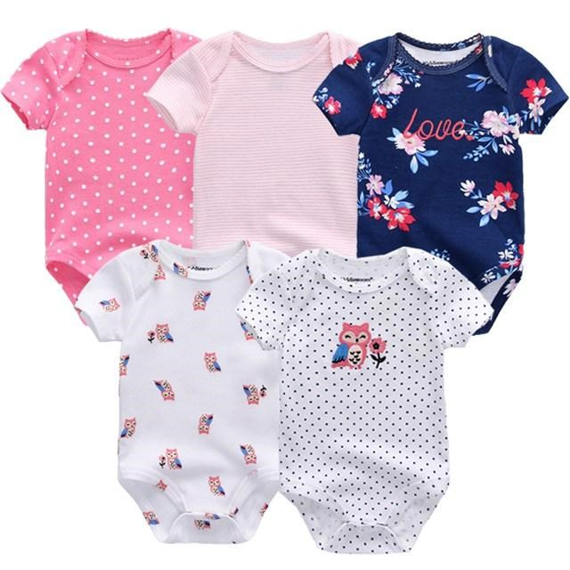 Babykleding Roze.5 Rompers Roze Wit Blauw 0 Tot 4 Maanden Babykleding Rompertjes